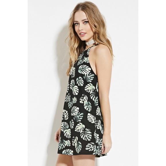 Forever 21 Black Green Leaf Flowy Dress Small